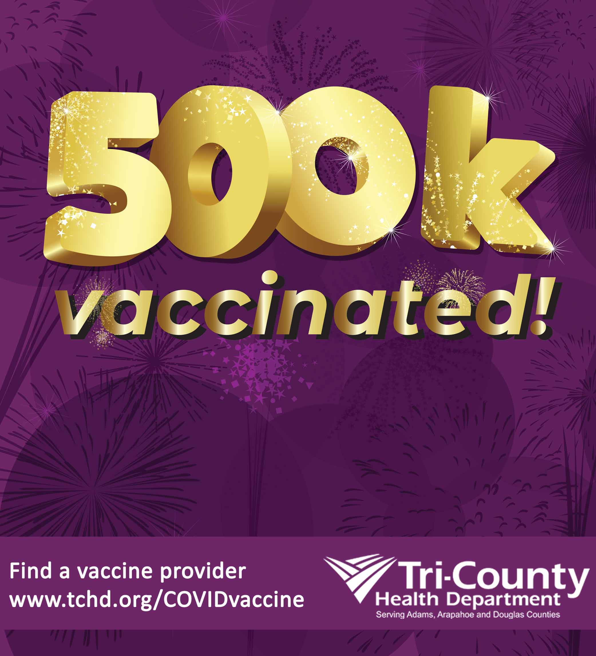 Purple background with fireworks showing 500K vaccinated!