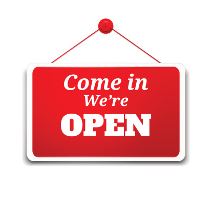 "Clip Art of Sign Which Reads, ""Come In, We're Open"""