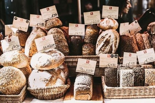 Assortment of Bread Displayed with Price Tags