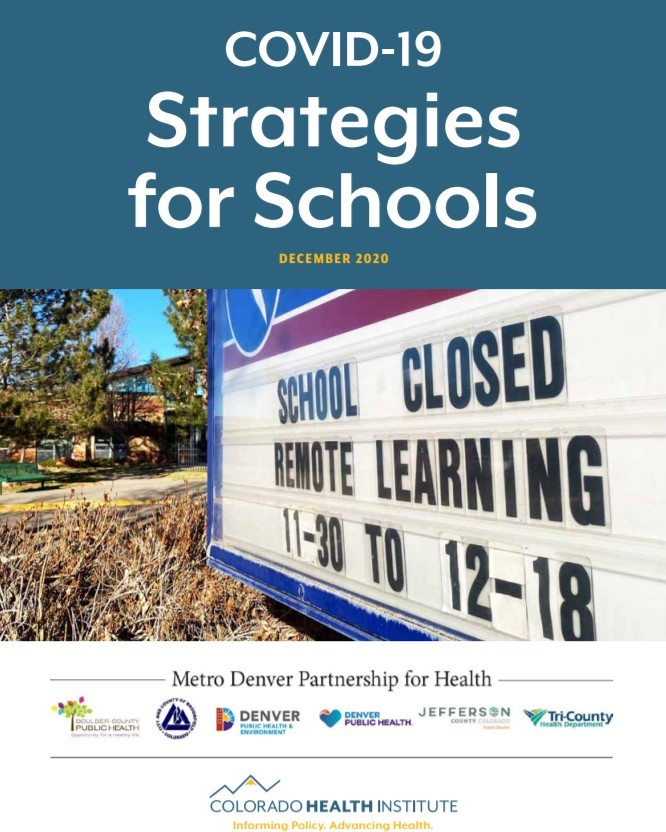 Cover of the strategies with an image of a sign outside about schools closed and remote learning